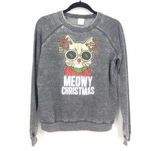 Freeze Meowy Christmas Cat Kitten Sweatshirt (D12)